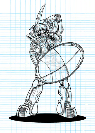 robot with shield: Illustration of a Gladiator Robot with a shield and Battle Axe ,Vector illustration