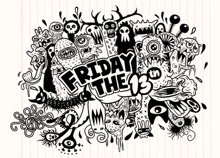 13: Hand Drawn Vector Illustration of Friday 13 grunge illustration with doodle ghost background,Vector illustration