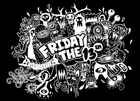 Hand Drawn Vector Illustration of Friday 13 grunge illustration with doodle ghost background,Vector illustration