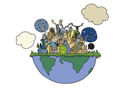 Vector illustration of funny Monsters Population with continents of Our World Illustration