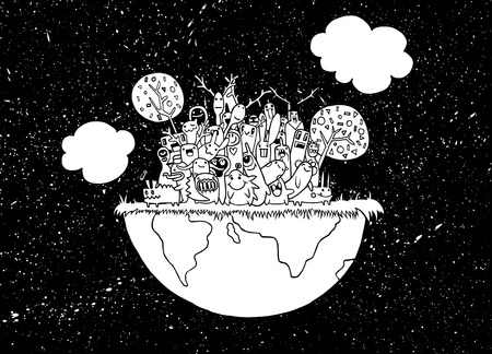 teammate: Vector illustration of funny Monsters Population with continents of Our World Illustration