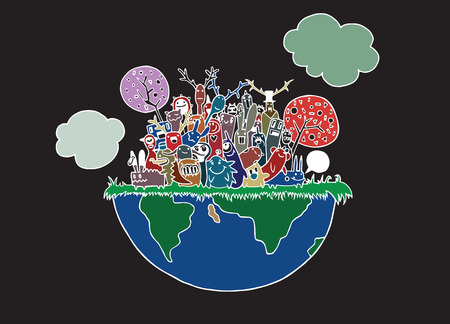 Vector illustration of funny Monsters Population with continents of Our World (vector eps10)
