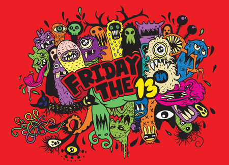 Hand Drawn Vector Illustration of Friday 13 grunge illustration with doodle ghost background,Vector illustration Stock fotó - 61207961