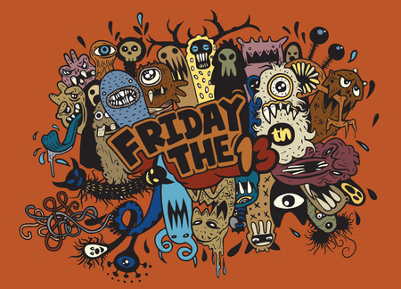 friday 13: Hand Drawn Vector Illustration of Friday 13 grunge illustration with doodle ghost background,Vector illustration