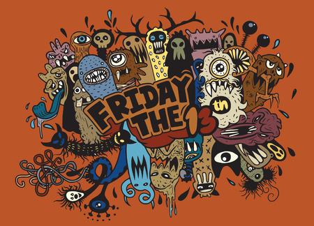 Hand Getrokken Vector illustratie van vrijdag 13 grunge illustratie met doodle spook achtergrond, Vector illustratie