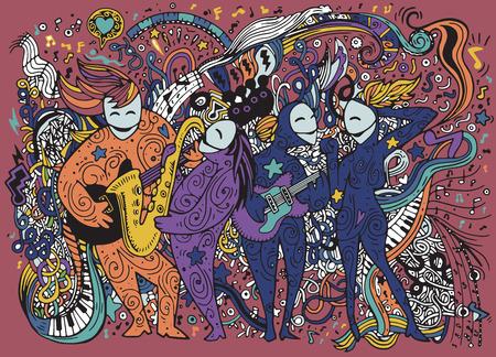 Fondo abstracto de la música, los músicos de la banda, Collage con instruments.Hand musical dibujo Doodle, ilustración vectorial.