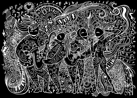 musical background: Abstract Music Background ,band musicians,Collage with musical instruments.Hand drawing Doodle,vector illustration.