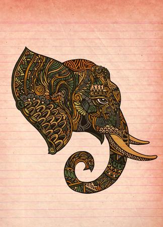 elephant head: elephant head. Ornate elephant. Hand drawn vector illustration