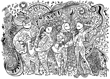abstract music: Abstract Music Background ,band musicians,Collage with musical instruments.Hand drawing Doodle,vector illustration.