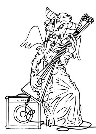 guitar amplifier: rock monster,playing rock electric guitar near an amplifier. character design. typographic rock design - vector illustration