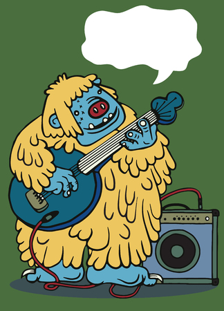 rock monster , playing rock electric guitar near an amp. character design. typographic rock design - vector illustration Illustration