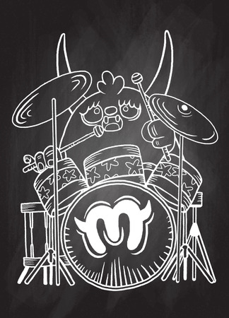 solo: rock monster drummer ,playing drum. character design. typographic rock design - vector illustration