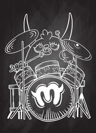 creepy alien: rock monster drummer ,playing drum. character design. typographic rock design - vector illustration