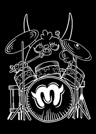 rock monster drummer ,playing drum. character design. typographic rock design - vector illustration