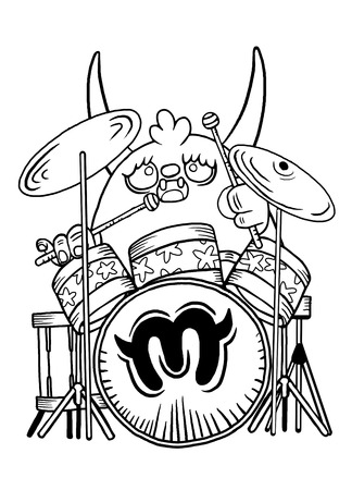 drummer: rock monster drummer ,playing drum. character design. typographic rock design - vector illustration