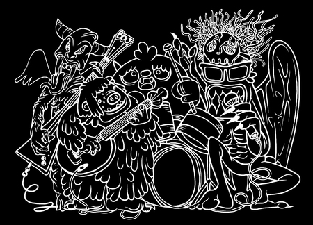 voices: Monster music band playing music. hand drawn style ,Vector illustration. Illustration