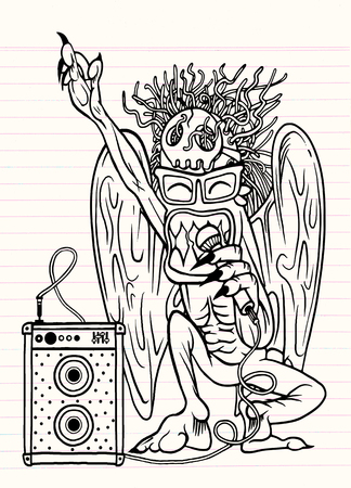 rocker: Monster rocker singing with microphone in his hand.character design. typographic rock design - vector illustration