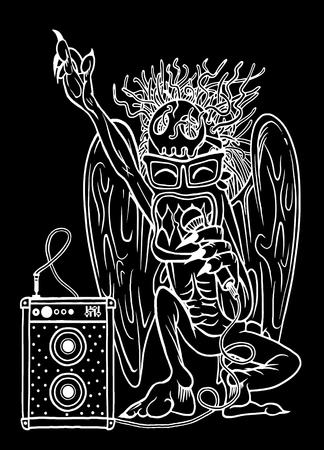 rocker: Monster rocker singing with microphone in his hand.character design. typographic rock design - vector illustration