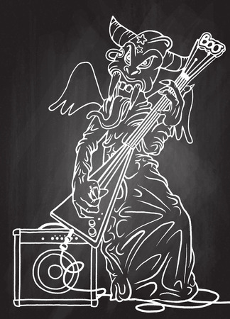 solo: rock monster,playing rock electric guitar near an amplifier. character design. typographic rock design - vector illustration