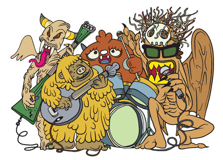 bass drum: Monster music band playing music. hand drawn style ,Vector illustration. Illustration