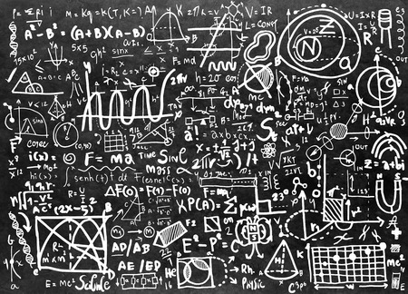 drawing board: Physical formulas and phenomenon. hand-drawn illustration. science board with math. physics education at school