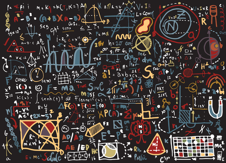 physical education: Physical formulas and phenomenon. hand-drawn illustration. science board with math. physics education at school