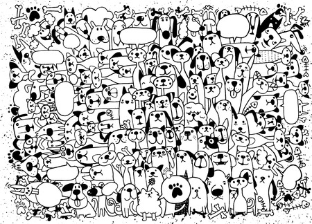 Animals. Cats and Dogs Vector pattern. Hand Drawn Doodles Pets. Cute Cats and Dogs ,vector illustration