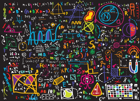 Physical formulas and phenomenon. hand-drawn illustration. science board with math. physics education at school