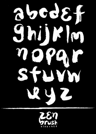 Zen Calligraphic Brush Font Brush Painted Letters Handwritten