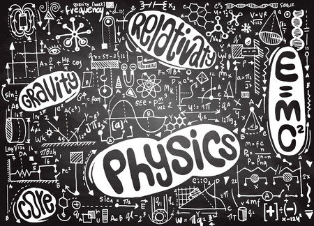theorem: Physical formulas and phenomenon. hand-drawn illustration. science board with math. physics education at school