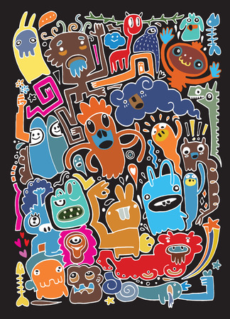 Monsters and cute alien friendly, hand drawn monsters collection, vector illustration