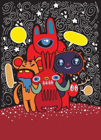 Hand getrokken Crazy doodle Monster City, tekenstijl, vectorillustratie.