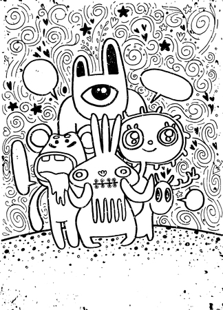 indie: Hand drawn Crazy doodle Monster City,drawing style,Vector illustration.