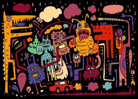 Los monstruos y, dibujado a mano la colección monstruos, ilustración vectorial extranjero amistoso lindo Vectores