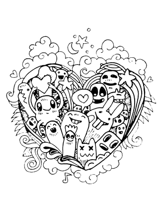 Doodle hartvorm en doodles Monsters schets. Vectorillustratie, Hipster Doodle Monster, liefde comcept Vector Illustratie