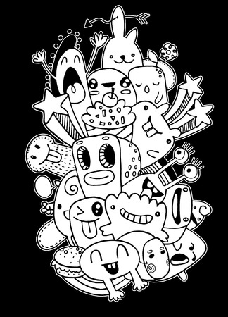 teammate: Vector illustration of Monsters and cute alien friendly, cool and cute hand-drawn monsters collection Illustration