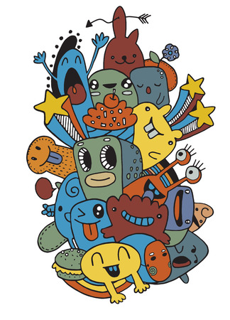 Vector illustration of Monsters and cute alien friendly, cool and cute hand-drawn monsters collection Illustration