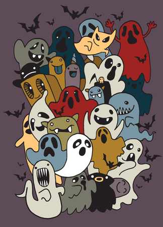 Vector illustration of Doodle Halloween Ghost background ,Hand drawing Doodle