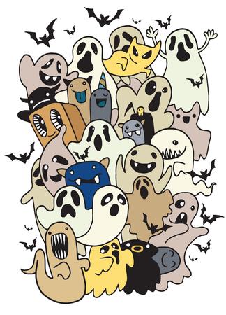 Vector illustration of Doodle Halloween Ghost background ,Hand drawing Doodle Illusztráció