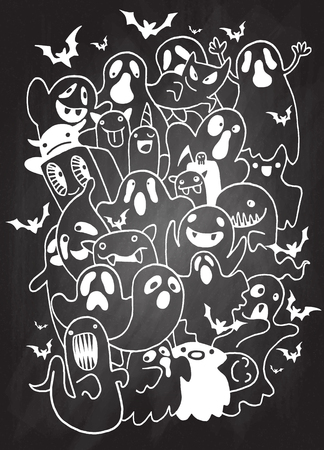 Vector illustration of Doodle Halloween Ghost background ,Hand drawing Doodle Vettoriali