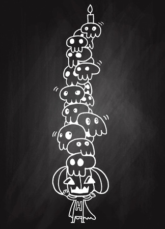 cute skull: Vector illustration of Doodle cute Skull ,Hand drawing Doodle