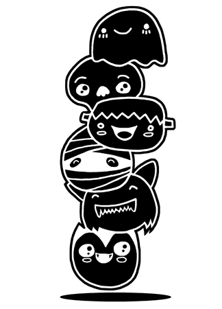 Vector illustration of Doodle Halloween characters faces set ,Hand drawing Doodle