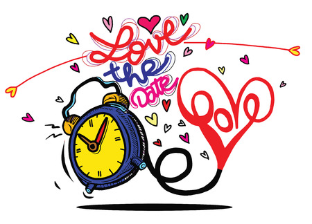 Vector cartoon clock with hearts. Valentines day card. love the date