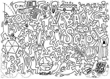 Back to school themed doodle background,School doodles, vector set