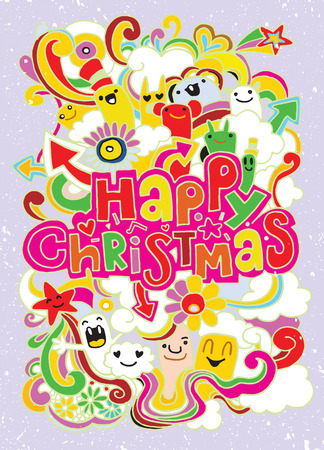Hand drawn Happy Christmas poster,funny doodle,Vector illustration Illustration