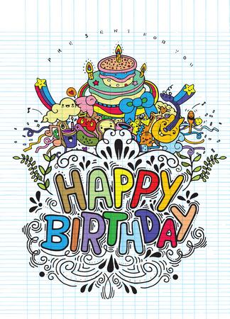 Birthday card design vintage style template,Vector illustration of Doodle  background ,Hand drawing Doodle Ilustração