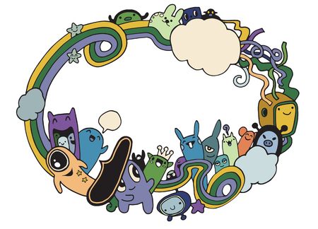 Crazy monster Social with copy space,doodle drawing style.Vector illustration Illustration