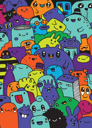 Fun Cute Cartoon Monsters for Kids Design Collection, met de hand getekend, Doodle, Vector illustratie Stock Illustratie