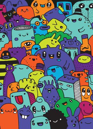 Fun Mignon Monstres de bande dessinée pour les enfants Design Collection, dessiné à la main, griffonnage, Vector illustration Banque d'images - 66569798