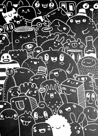 재미 귀여운 만화 괴물 어린이를위한 디자인 컬렉션, 손으로 그린, 낙서, 벡터 일러스트 레이 션